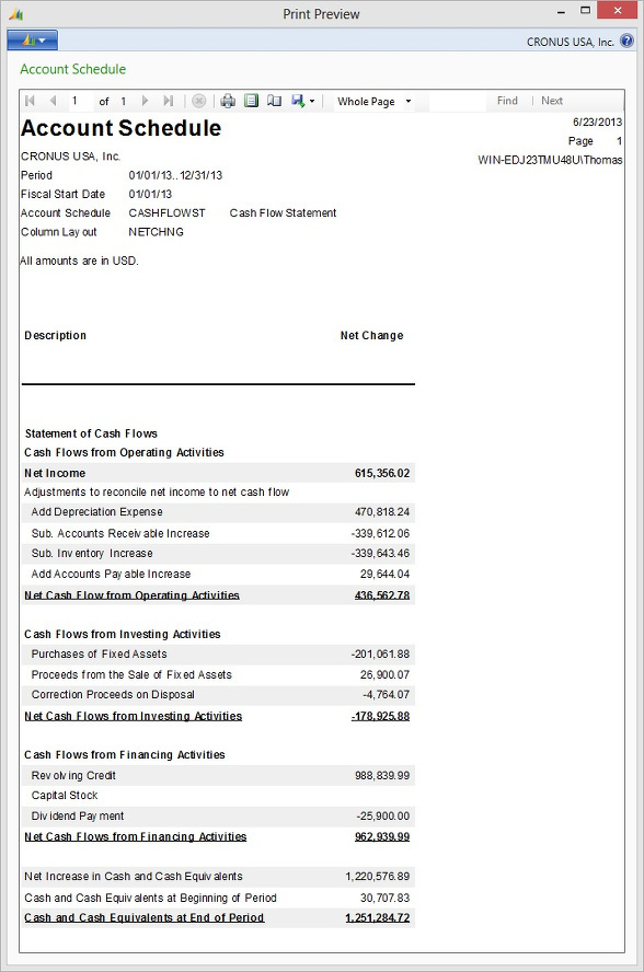 Microsoft Dynamics NAV - Account Schedule - Cash Flow Statement printout