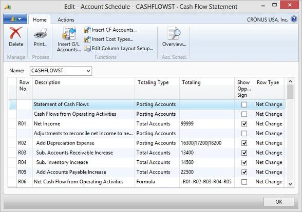 Microsoft Dynamics NAV - Account Schedule - Cash Flow Statement