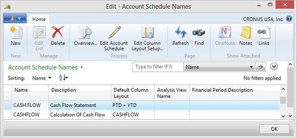 Microsoft Dynamics NAV - Account Schedule Names