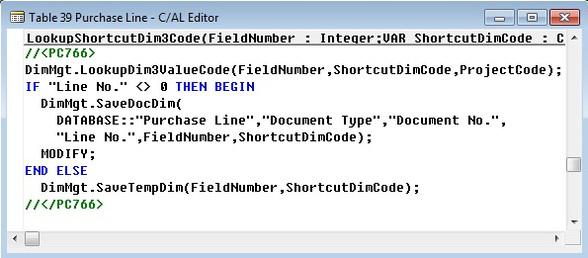 Microsoft Dynamics NAV - C/AL Editor - Table 39 Purchase Line