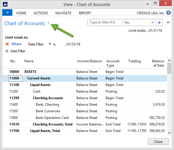 Microsoft Dynamics NAV - Chart of Accounts with Date Filter