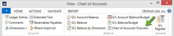 Microsoft Dynamics NAV - Chart of Accounts Ribbon - Overview