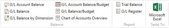 Microsoft Dynamics NAV - Chart of Accounts Ribbon with Send to Microsoft Excel
