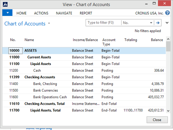 Microsoft Dynamics NAV - Chart of Accounts with correct structure, wrong indentation