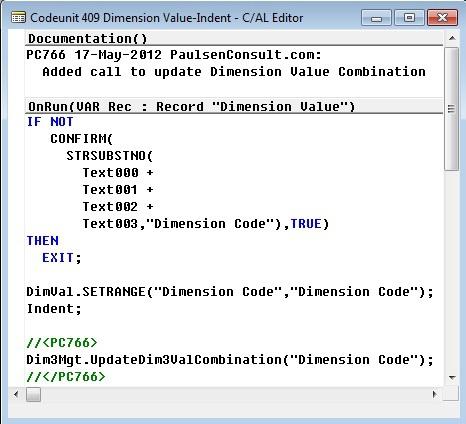Microsoft Dynamics NAV - C/AL Editor - Codeunit 409 Dimension Value-Indent