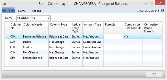 Microsoft Dynamics NAV - Column Layout CHANGEOFBA