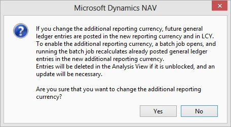 Microsoft Dynamics NAV - Confirm Additional Reporting Currency