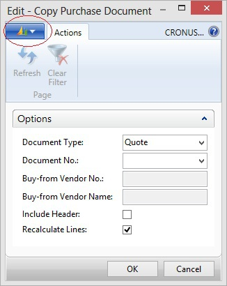 Microsoft Dynamics NAV - Copy Purchase Document with highlighted icon