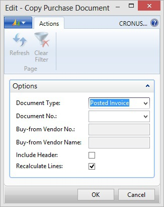 Microsoft Dynamics NAV - Copy Purchase Document with default value