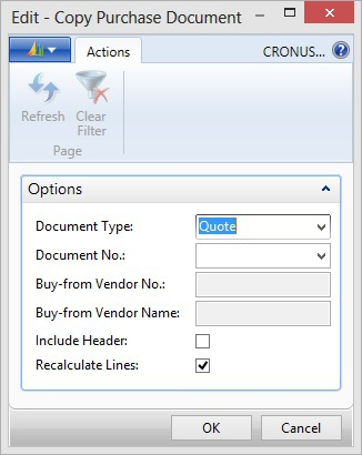 Microsoft Dynamics NAV - Copy Purchase Document