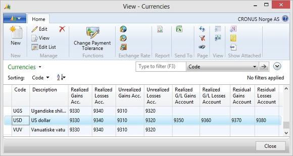 Microsoft Dynamics NAV - Currencies