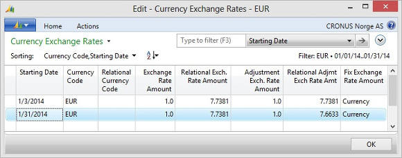 Microsoft Dynamics NAV - Currency Exchange Rates to EUR