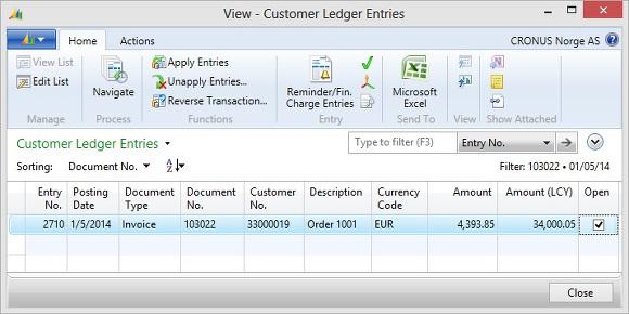 Microsoft Dynamics NAV - Customer Ledger Entry