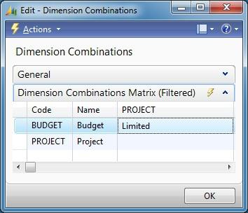 Microsoft Dynamics NAV - Dimension Combinations