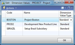 Microsoft Dynamics NAV - Dimension Values- Project