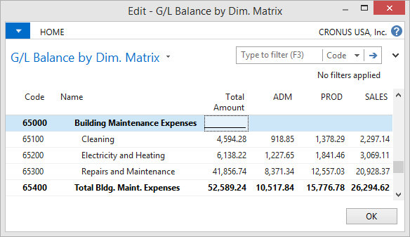 Microsoft Dynamics NAV - G/L Balance by Dimension Matrix