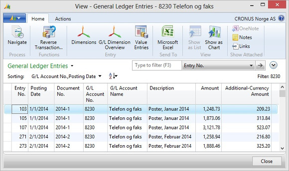 Microsoft Dynamics NAV - General Ledger Entries with Additional Currency Amount