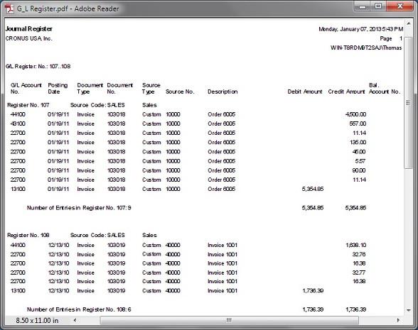 Microsoft Dynamics NAV - G/L Register