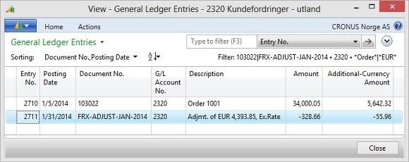 Microsoft Dynamics NAV - General Ledger Entries