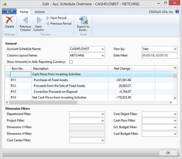 Microsoft Dynamics NAV - Cash Flow from Investing Activities