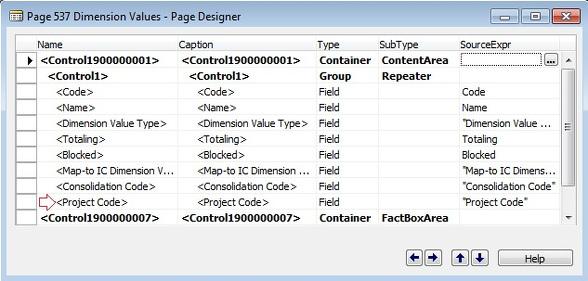 Microsoft Dynamics NAV- Page Designer - Dimension Values