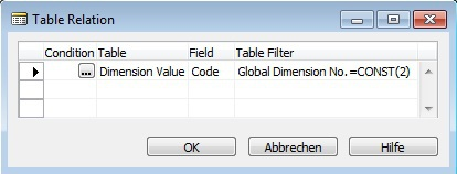 Microsoft Dynamics NAV - Dimension Value - Table Relation