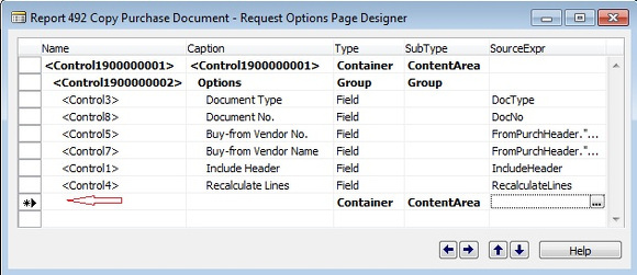 Microsoft Dynamics NAV - Report 492 Copy Purchase Document - Request Options Page Designer