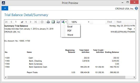 Microsoft Dynamics NAV - Report Trial Balance Detail/Summary