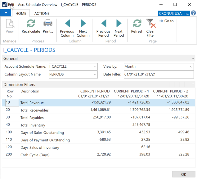 Microsoft Business Central 365 - Account Schedule I_CACYCLE with indicated date range