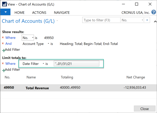 Microsoft Business Central 365 - Chart of Accounts - Account 49950 Total Revenue with extended filters